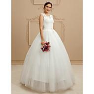 볼 드레스 V 넥 바닥 길이 레이스 / 튤 Made-To-Measure 웨딩 드레스 와 비즈 / 스팽글 / 아플리케 으로 LAN TING BRIDE® / 아름다운 뒤태