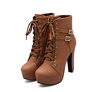 cheap Women's Boots-Women's PU(Polyurethane) Fall / Winter Comfort / Novelty / Fashion Boots Boots Chunky Heel Round Toe Booties / Ankle Boots Buckle / Lace-up Black / Beige / Brown