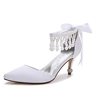 cheap Wedding Shoes-Women's Shoes Satin Spring Summer Basic Pump Ankle Strap Comfort D'Orsay & Two-Piece Wedding Shoes Kitten Heel Cone Heel Low Heel
