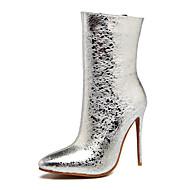 billige Sko i Store Størrelser-kvinners sko mikrofiber høst vinter mote støvler støvler stilett hæl pekte tå mid-calf støvler sequin glidelås for uformell