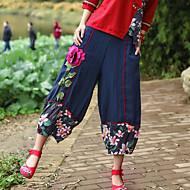 Mulheres Casual Cintura Média Micro-Elástica Solto Chinos Calças Outono Bordado