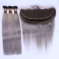 Недорогие -Натуральные волосы Бразильские волосы Волосы Уток с закрытием Прямые Наращивание волос 4 предмета Черный / серый