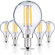 5pcs e14 g45 4w levou lâmpadas de filamento 4 cob 360lm quente / frio branco vintage edison bulbo ac220-240v