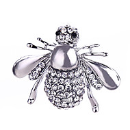 Women's Crystal Brooches Silver Plated Gold Plated Bee Animal Ladies Classic Fashion Brooch Jewelry Gold Silver For Gift Daily