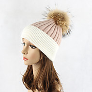 女性用 パッチワーク ハット ウール, カラーブロック フロッピーハット スキー帽