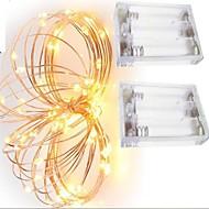 2 stücke 2 mt 20 led 3aaa 4,5 v batteriebetriebene wasserdichte dekoration led kupferdraht lichter string für festival hochzeitsparty