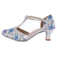billige Moderne sko-Dame Moderne sko Kustomiserte materialer Høye hæler Høy Hæl Kan spesialtilpasses Dansesko Blå / Innendørs