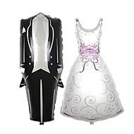 2pcs bruiloft decoraties hart bruid bruidegom aluminiumfolie ballonnen