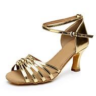 baratos Sapatilhas de Dança-Mulheres Pele PVC Salto Salto Alto Personalizável Sapatos de Dança Dourado / Prata / Profissional