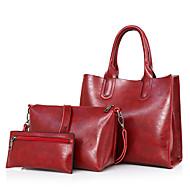 お買い得  バッグ-女性用 バッグ PU バッグセット ジッパー ルビーレッド / グレー / Brown