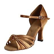 baratos Sapatilhas de Dança-Mulheres Sapatos de Dança Latina Cetim Sandália Laço Salto Cubano Personalizável Sapatos de Dança Marron / Espetáculo / Couro