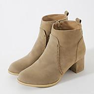 Feminino Sapatos Pele Nobuck Outono Inverno Conforto Inovador Curta/Ankle Botas Salto Grosso Dedo Apontado Botas Curtas / Ankle Ziper Para