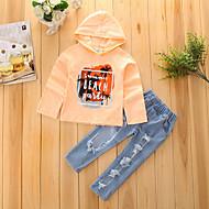 Toddler Dívčí Šaty Geometrické tvary Dlouhý rukáv Standardní Standardní Bavlna / Polyester Sady oblečení Žlutá