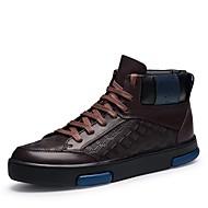 Masculino sapatos Pele Real Pele Napa Pele Inverno Conforto Botas da Moda Curta/Ankle Sapatos de mergulho Forro de fluff Tênis Botas