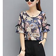 Mulheres Blusa Floral Algodão