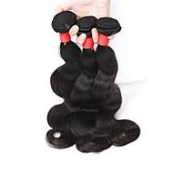 שיער אנושי שיער הודי טווה שיער אדם Body Wave תוספות שיער 3 חלקים שחור