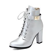 お買い得  レディースブーツ-女性用 靴 レザーレット 冬 ファッションブーツ ブーツ チャンキーヒール ラウンドトウ ブーティー/アンクルブーツ ジッパー 編み上げ のために カジュアル ドレスシューズ ブラック シルバー ライトブラウン