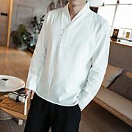 Homens Tamanhos Grandes Camisa Social Vintage Temática Asiática Sólido Algodão