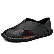 Masculino Sandálias Conforto Verão Pele Casual Rasteiro Branco Preto Marron 5 a 7 cm