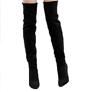 cheap -Women's Shoes Suede Spring / Summer Comfort / Novelty / Fashion Boots Boots Stiletto Heel Pointed Toe Knee High Boots Black / Gray / Brown