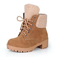 Feminino Sapatos Camurça Outono Inverno Conforto Inovador Botas da Moda Curta/Ankle Botas Rasteiro Ponta Redonda Botas Curtas / Ankle