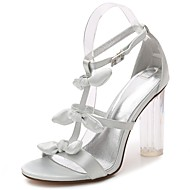 cheap Women's Sandals-Women's Shoes Satin Spring Summer Basic Pump Ankle Strap Transparent Shoes Sandals Chunky Heel Translucent Heel Crystal Heel Round Toe