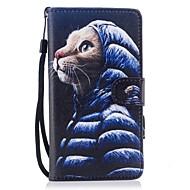 billiga Mobil cases & Skärmskydd-fodral Till Huawei P10 Lite Korthållare Plånbok med stativ Lucka Magnet Mönster Fodral Katt Hårt PU läder för P10 Lite P8 Lite (2017)