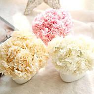 buquê cravo artificial seda flores falso folha decoração de casa 6 ramo / pacote