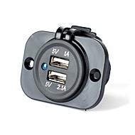 billiga Billaddare för mobilen-Flera portar 2 USB-portar Endast laddare DC 5V/2.1A