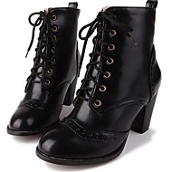 Women's Shoes PU Leatherette Fall Winter Comfort Novelty Fashion Boots Boots Chunky Heel Round Toe Booties/Ankle Boots Lace-up For Party