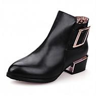 baratos Sapatos de Tamanho Pequeno-Mulheres Sapatos Courino Outono / Inverno Conforto / Inovador / Curta / Ankle Botas Salto Robusto Dedo Apontado Botas Curtas / Ankle