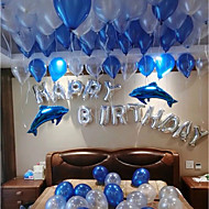 "cheap Holiday Decorations-100 Latex Balloons And ""Happy  Birthday "" Alphabet Couple Blue Dolphins Aluminum Film Balloons"