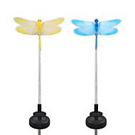 2kpl aurinkokuidusta valkoista / värinvaihtelevaa puutarhavalan valo-sudenkorentoa