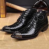 baratos Sapatos de Tamanho Pequeno-Homens Sapatos formais Pele Napa Outono / Inverno Botas Botas Curtas / Ankle Preto / Festas & Noite