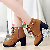 Women's Shoes PU Fall Winter Comfort Boots Chunky Heel Round Toe For Casual Green Yellow Black