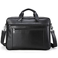 Men Bags All Seasons Cowhide Briefcase Pockets Zipper for Casual Formal Black