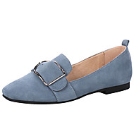cheap Women's Slip-Ons & Loafers-Women's Shoes Pigskin Spring Summer Comfort Moccasin Loafers & Slip-Ons Square Toe Buckle for Casual Outdoor Black Blue Pink