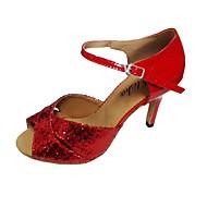 olcso -Női Latin Csillogó flitter PU Szandál Beltéri Személyre szabott sarok Fekete Bíbor Rózsaszín/fekete Piros