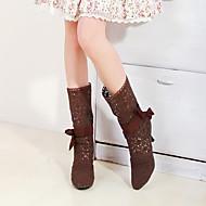 baratos Sapatos Femininos-Mulheres Renda Outono / Inverno Conforto / Inovador / Botas da Moda Botas Dedo Apontado Botas Cano Médio Laço Branco / Preto / Marron / Festas & Noite