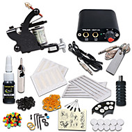 billige Tatoveringssett for nybegynnere-Tattoo Machine Startkit - 1 pcs tattoo maskiner med 1 x 5 ml tatovering blekk Mini strømforsyning 1 x stål tatoveringsmaskin til lining