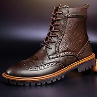 Herre sko Lær Høst Vinter Kampstøvler Cowboy/Westernstøvler Ankelstøvel Støvler Ankelstøvler Snøring Til Avslappet Svart Brun