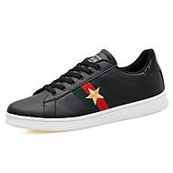 Masculino sapatos Tule Couro Ecológico Primavera Outono Conforto Tênis Cadarço Para Casual Branco Preto