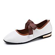 preiswerte -Damen Schuhe PU Herbst Komfort Flache Schuhe Flacher Absatz Quadratischer Zeh Schnürsenkel Für Normal Weiß Schwarz Rosa