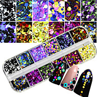12 kleuren / doos 1&2&3mm nagel kunst glitter sequins decoratie diy nagelsalon