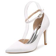 สำหรับผู้หญิง ไหม ฤดูใบไม้ผลิ / ตก ปั๊มพื้นฐาน / สายคล้องข้อเท้า รองเท้าแต่งงาน ส้น Stiletto Pointed Toe หัวเข็มขัด ขาว / สีชมพูอ่อน / สีน้ำเงินกรมท่า / งานแต่งงาน / พรรคและเย็น