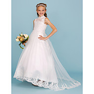 cheap -Ball Gown High Neck Sweep / Brush Train Lace / Satin Junior Bridesmaid Dress with Beading / Appliques by LAN TING BRIDE® / Wedding Party