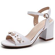 זול נעליים מידות מורחבות-נשים נעליים PU קיץ סוליות מוארות סנדלים עקב עבה בוהן עגולה חרוזים עבור שמלה לבן שחור