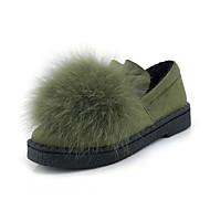 tanie Small Size Shoes-Damskie Obuwie Derma Zima Jesień Comfort Mokasyny i pantofle Gruby obcas Okrągły Toe na Casual Formalne spotkania Black Gray Yellow Green