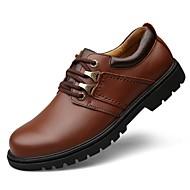 Masculino sapatos Pele Real Pele Napa Pele Outono Conforto Sapatos formais Sapatos de mergulho Oxfords Cadarço Para Casual Preto Marron