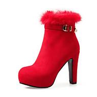 Feminino Sapatos Camurça Outono Inverno Conforto Inovador Botas da Moda Curta/Ankle Botas Salto Grosso Dedo Apontado Botas Curtas / Ankle